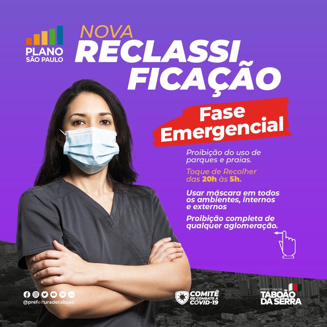 Taboão da Serra entra na Fase Emergencial na segunda-feira, 15/03