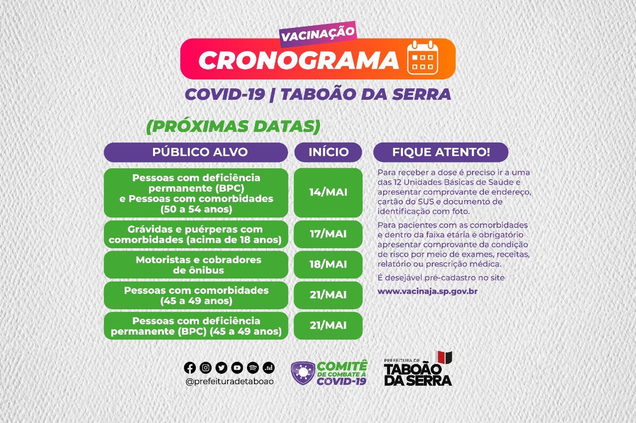 Taboão da Serra vacina novos públicos contra a Covid-19