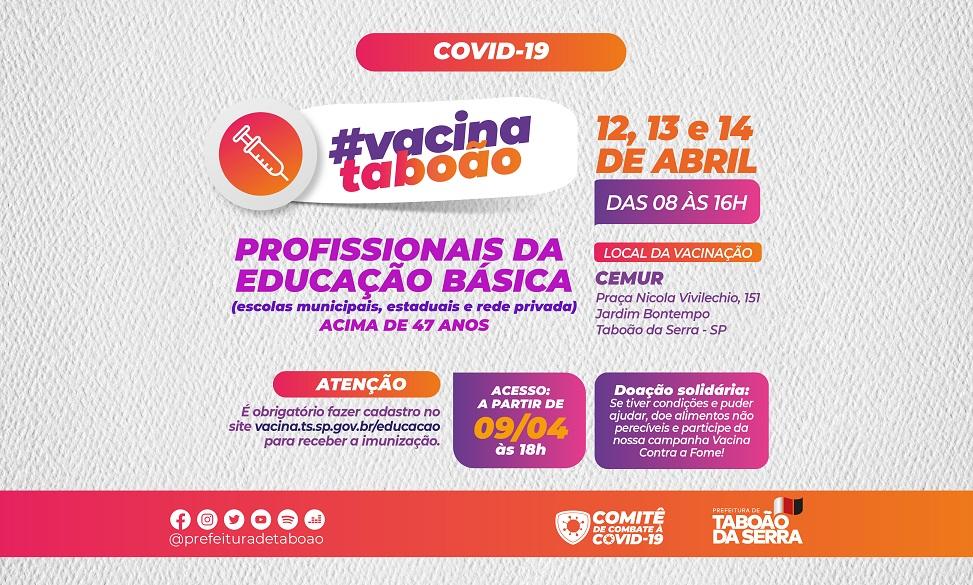 Taboão da Serra vacina profissionais da educação maiores de 47 anos na próxima semana