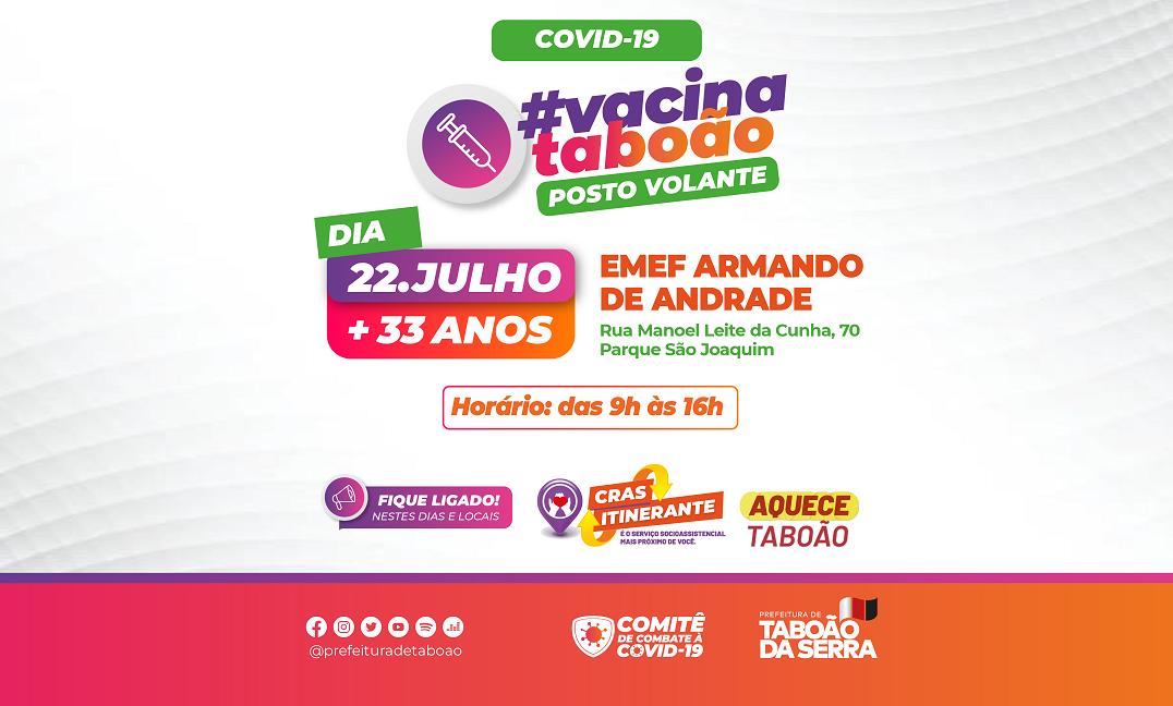 EMEF Armando de Andrade recebe vacinação contra a Covid-19 e CRAS Itinerante amanhã, 22/07