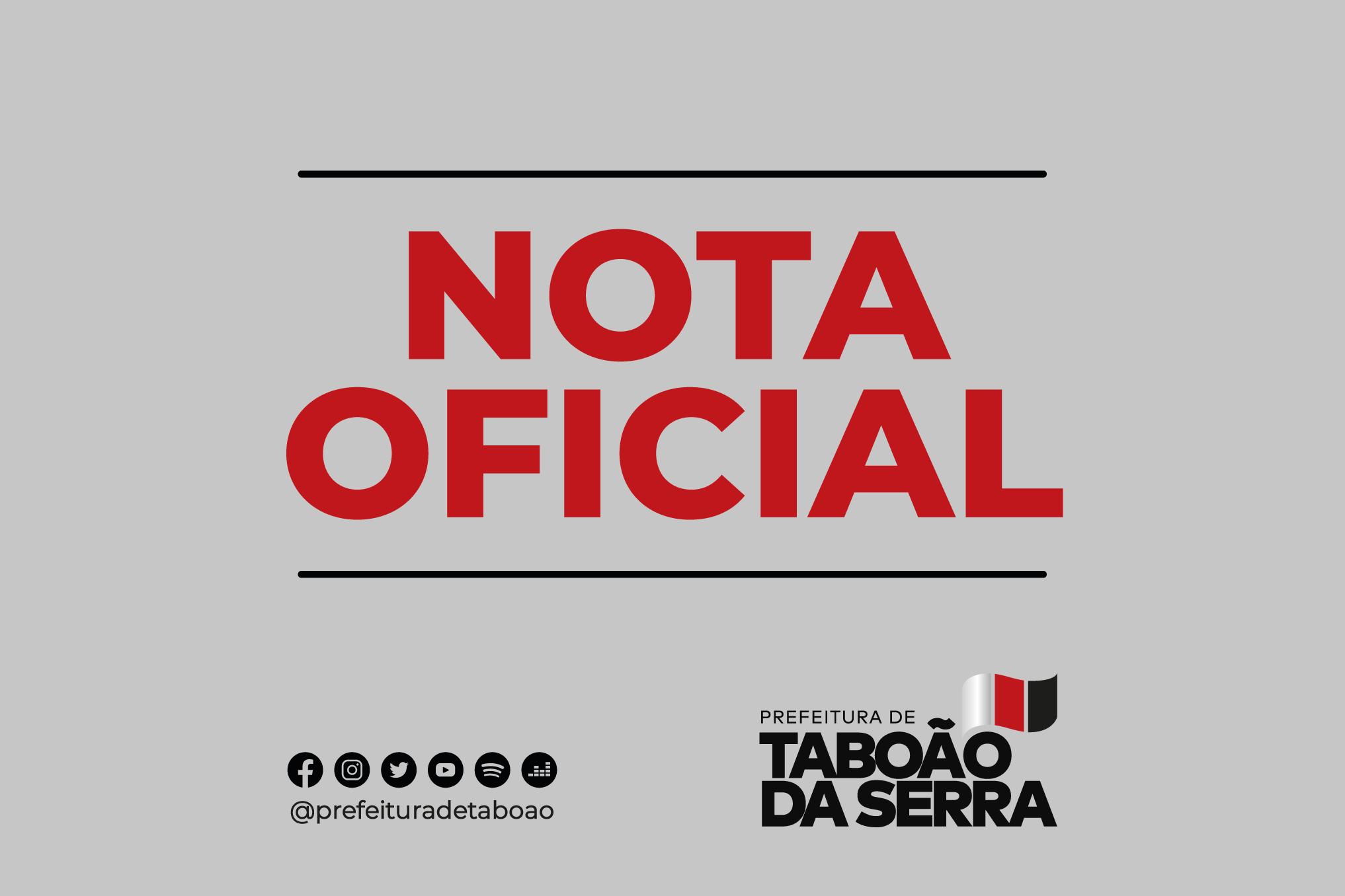 Nota Oficial da Prefeitura de Taboão da Serra - 30/08/2021