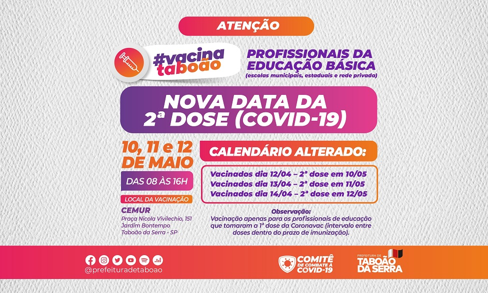 Aplicação da 2ª dose contra a Covid-19 dos profissionais da Educação começa em 10/05