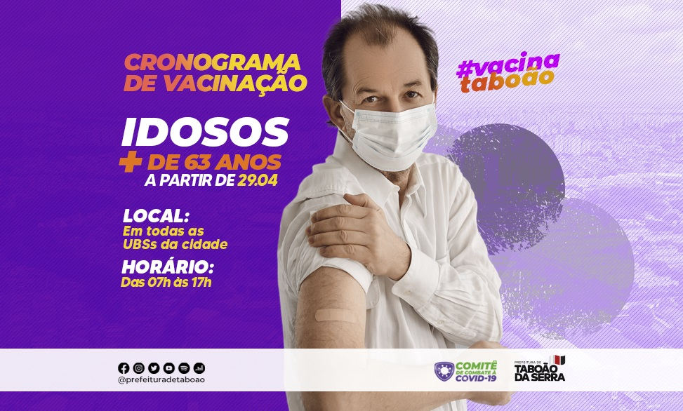 Maiores de 63 anos serão vacinados contra a Covid-19 a partir de quinta-feira, 29/04